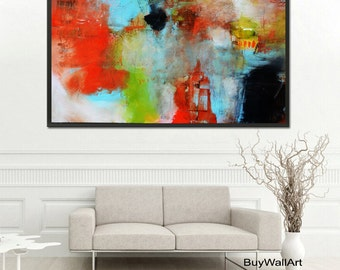 Abstract painting, Giclee Print, Orange Blue Modern Painting, Large Abstract Painting,Orange Blue Art Print,Fine Art Print, Blue Abstract