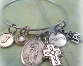 LPN Nurse Bangle Bracelet, St. Agatha, Patron Saint of Nurses, Healing Bangle with Licensed Practical Nurse Charm, Catholic Jewelry