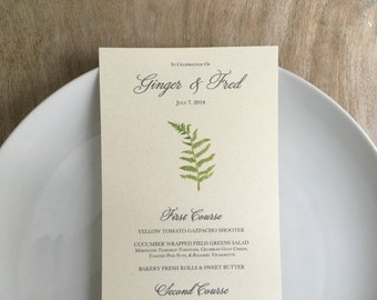 Fern Menu Cards, - CUSTOM Layout - for events, weddings, parties and holiday entertaining.