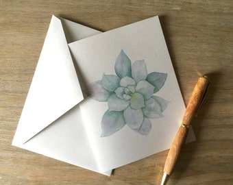 Succulent Note Card set - greetings, thank you, invitations. - Lotus flower