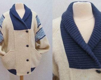 Warm Cuddly Nordic Wool Jacket, Sweater, Knit Coat, Shawl Collar, Size LG