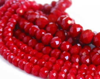"""15"""" 6mm 8mm 10mm Ruby Red designer crystal rondelle Beads faceted glass PICK SIZE"""