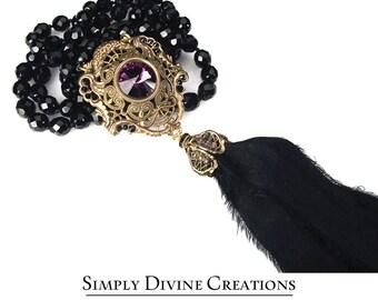 Sophisticated BoHo Glam  Amethyst Swarovski Crystal Tassel Necklace, BoHo Chic Tassel Necklace, black Tassel Necklace
