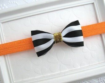 Halloween Infant Baby Headband, Black and White Striped Hair Bow, Gold Glitter Bow, Orange and Black Baby Headband, Girls Halloween Headband