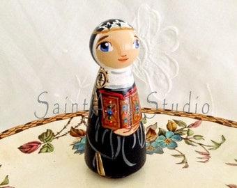 St Hildegard of Bingen Wooden Toy - Catholic Saint Doll - Made to Order