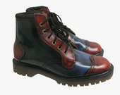 Vintage John Fluevog Boots with Dr. Martens Soles Made In England Fits Mns US Size 8 Tri-Color Blue Red and Green Leather Doc Martens Boots