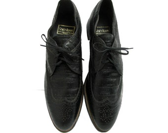 Stacy-Adams Wingtip Shoes Vintage Mens Black Croc Embossed Leather Oxford Brogue  Formal Shoe Mns US Size 12 Made In The UA