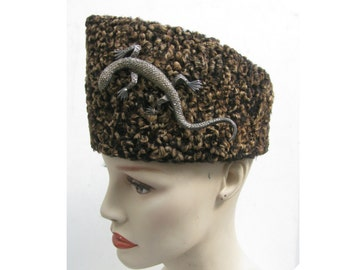 Vintage Jinnah Hat with Lizard Pin Traditional Mens Persian Lamb Peaked Cap from Pakistan Fits Size Large