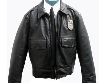 Mens Leather Police Jacket Taylors Leatherwear Los Angeles Police Department Black Leather Cop Motorcycle Jacket Mns Size 44 Made In USA