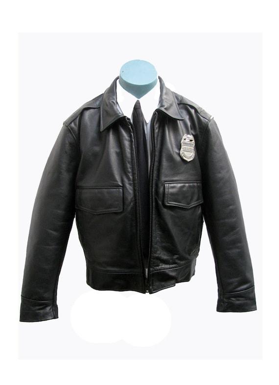 Mens Leather Police Jacket Taylors Leatherwear Los Angeles