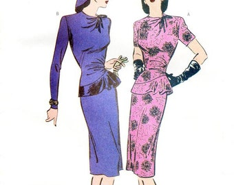 Butterick Dress Pattern 6461 - Misses' Fitted, Pull-Over Peplum Dress in Two Variations - 1944 Vintage Style Dress - Sz 12/14/16