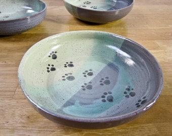 Pet Feeding Dish Stoneware Bowl Blue Green Ceramic Pottery Clay Handmade Cat Dog