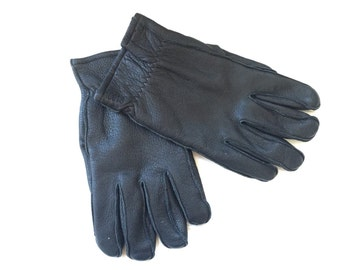 Roots Leather Gloves Men - Mens Winter Gloves - Driving Gloves - Fleece Lined