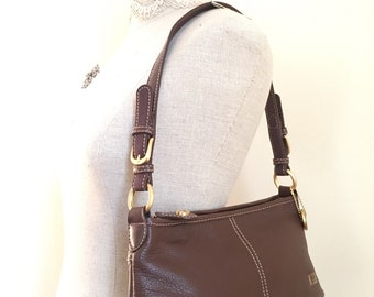 The Sak Purse - Leather Handbag - Vintage Top Handle Bag - Shoulder Bag - Chocolate Brown