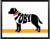 Personalized Labrador Retriever Print, Chocolate Lab, Yellow Lab, Black Lab, Framed Custom Dog Art, Gift for Dog Lover