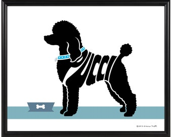 Personalized Standard Poodle or Toy Poodle Print, Framed Silhouette Name Art Dog Print, Dog Memorial Gift