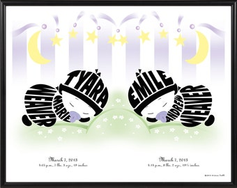 Personalized Twin Baby Boy or Girl Silhouette Print, Identical or Fraternal Twin Baby Gift, Framed Baby Name Art