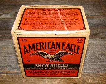 Vintage AMERICAN EAGLE Shot Shells  Box /  American Cartridge Shotgun Shell Box / Ammo II