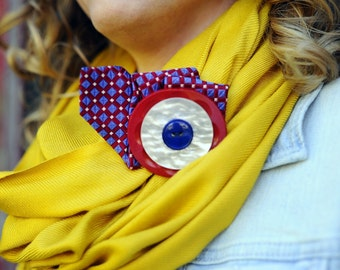 Nautical Spirit Button and Tie Fascinator Hair Clip Scarf Clip