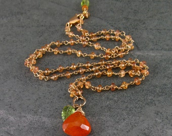 Mandarin garnet necklace, handmade gold filled garnet, peridot and yellow sapphire necklace-OOAK Apricot Harvest