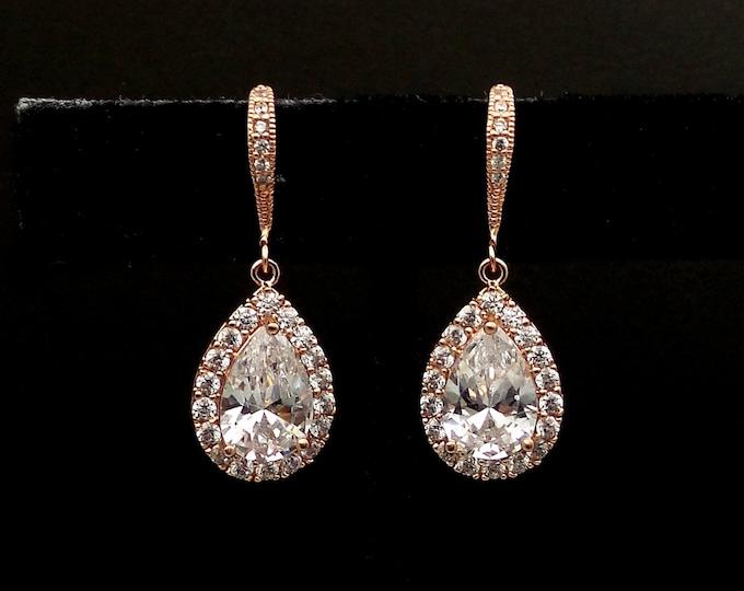 SALE set of 3 4 5 6 7 8 pairs wedding jewelry bridesmaid gift bridal earrings Clear teardrop diamond cubic zirconia rose pink gold hook