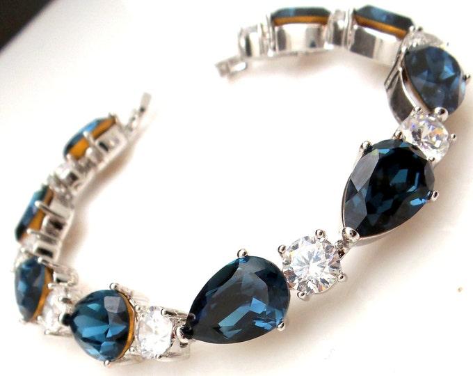 bridal jewelry bracelet prom wedding jewelry pageant montana teardrop navy swarovski rhinestone crystal Clear white AAA cubic zirconia