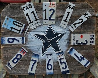Dallas Cowboys Clock,Custom wood Clock,Hand Painted,Customized Wall Clock,Rustic Wall Clock, Cowboys, Sports Team Clock,License Plate Decor