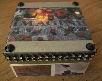 Imagine- My America Handcrafted Decoupauged Small Wooden Trinket Box