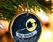Rustic Personalized Christmas Ornament, Hand Painted, Winter Scene