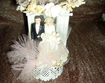 Vintage Wedding Cake Topper with Net Canopy 1950's Bride and Groom Topper