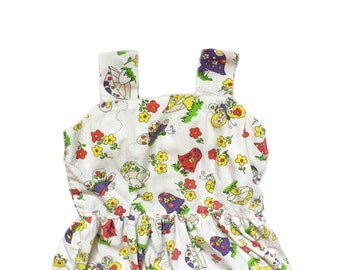 vintage girls dress mushroom butterfly 70's retro floral print handmade ric rac childrens clothing size 8 10