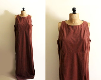 SALE vintage jumper dress 70s brown rust suede womens clothing plus size 1x xl extra large