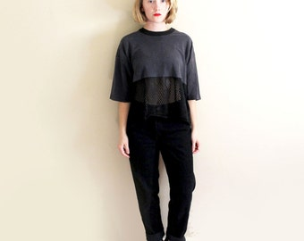 vintage crop top mesh 1980's womens clothing black t-shirt fitness wear size small s medium m large l