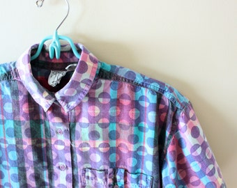 vintage shirt 90's plaid circle print rainbow pastel 1990's womens clothing size m medium m