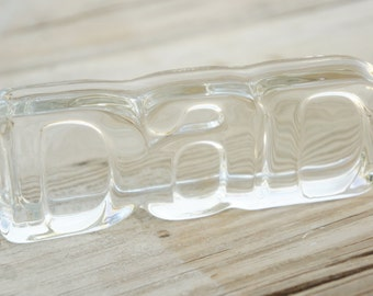 "Vintage 80s-90s Avon ""Dad"" Glass Plaque Letterpress Desk Decor Fathers Day Gift Retro"