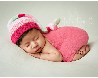 Knit Baby Hat, Photography Prop, Newborn Baby Hat, Photo Prop, Knit Photo prop, Photo Shoot Prop, Striped Hat, Girl Hat