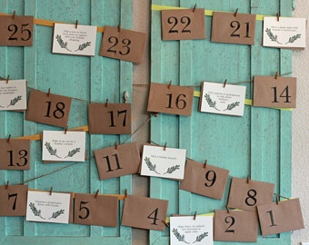 Advent Calendar Activity Kit for Adults - Envelopes with Cards - Hanging