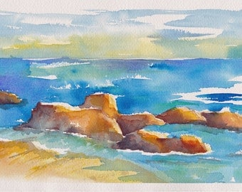 "Seascape - Original watercolor painting 7"" x 10"""