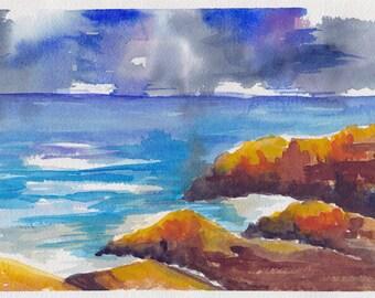"Seascape III - Original watercolor painting 7"" x 10"""