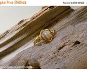 On Sale Wire Wrapped Brass Tan Striped Agate Ring size 6