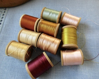 vintage silk thread - 10 spools, used and new, wood spools