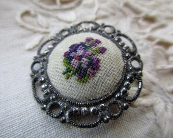 Vintage Needlepoint Pin -  petit point, flowers, romantic, purple, Austria