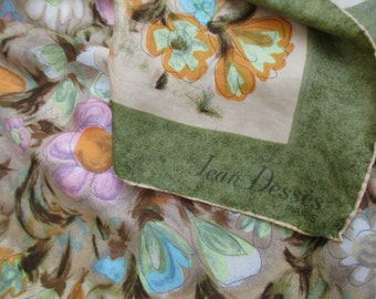 Jean Desses floral Silk SCARF - hand rolled, Paris, France, French, square