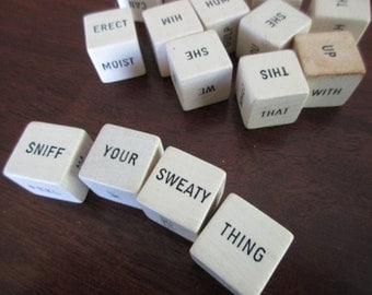 70s vintage Dirty Words wood dice - 16 pieces -words-assemblage