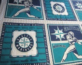 Seattle Mariners fabric pillow panel - 35 x 58 inches - 6 blocks per panel