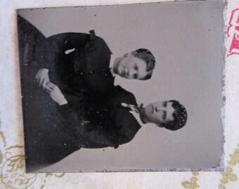 antique miniature tintype photo - gemtype - two women - late 1800s photo - gte76