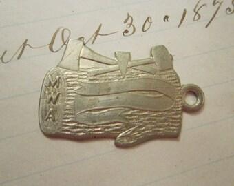 vintage metal tag - Modern Woodmen of America fob - fraternal order metal tag