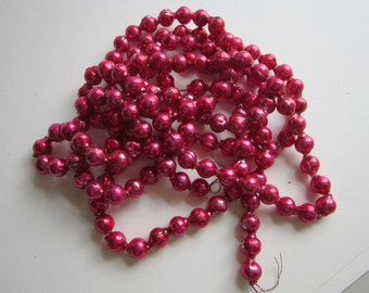 vintage MERCURY GLASS garland - 10mm hot PINK beads - 80 inches