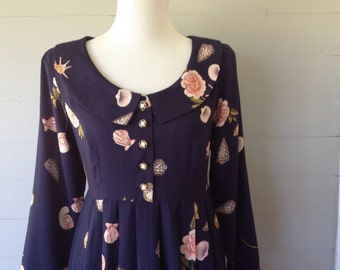 ON SALE Was 30.00 Now 24.00 / 1990s Vintage Dress Shells and Roses Navy Print Dress Long Sleeve Dress Grunge Dress