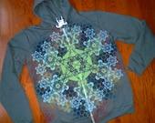 XL Metatron's Cube Fractal Mandala Sacred Geometry Zip Hoodie w/ Flower of Life & Hexagon Mandala